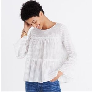 Madewell Gauzy Striped Tiered Babydoll Blouse Top